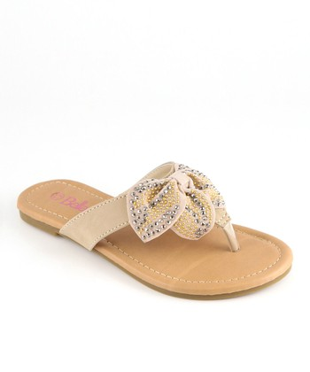 Bella Marie Beige Studded Bow Sandal