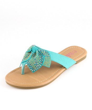 Bella Marie Emerald Studded Bow Sandal