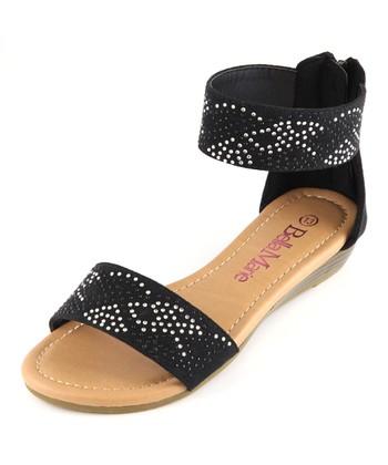 Bella Marie Black Ankle Strap Sandal