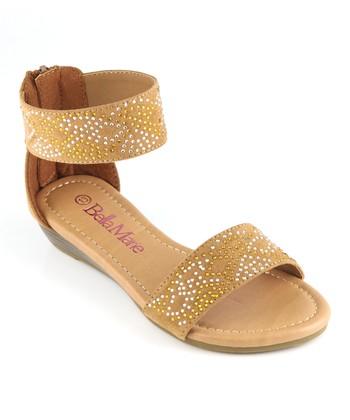Bella Marie Tan Ankle Strap Sandal