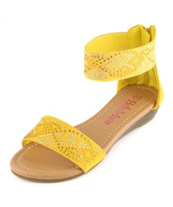 Bella Marie Yellow Ankle Strap Sandal