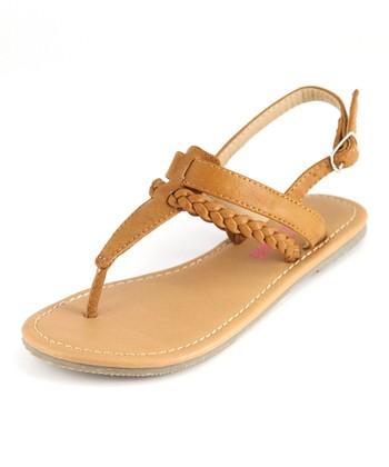 Bella Marie Cognac T-Strap Sandal