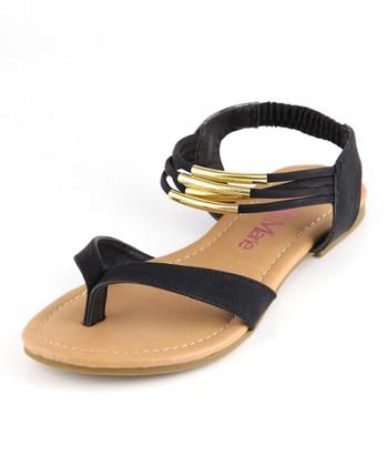 Bella Marie Black Strappy Ankle Sandal