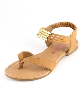 Bella Marie Tan Strappy Ankle Sandal