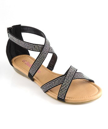 Bella Marie Black Cross Strap Sandal