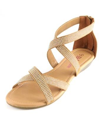 Bella Marie Tan Cross Strap Sandal