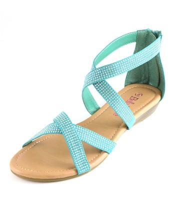 Bella Marie Emerald Cross Strap Sandal