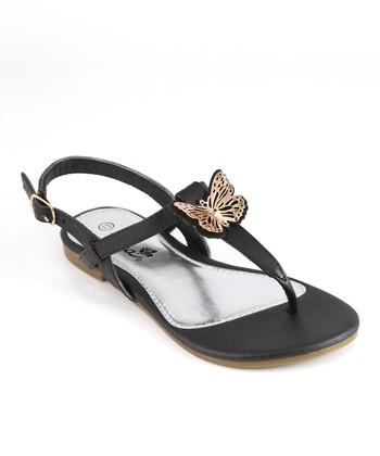 Anna Shoes Black Medallion Sandal