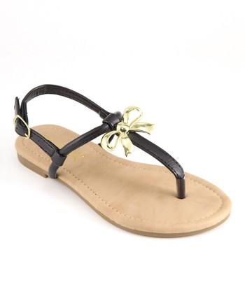 Anna Shoes Black Bow Sandal