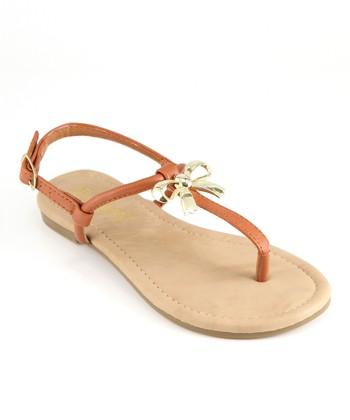 Anna Shoes Camel Bow Sandal