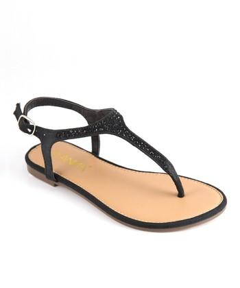 Anna Shoes Black Rhinestone Sandal