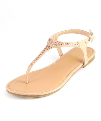 Anna Shoes Tan Rhinestone Sandal