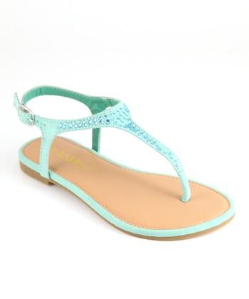 Anna Shoes Mint Rhinestone Sandal