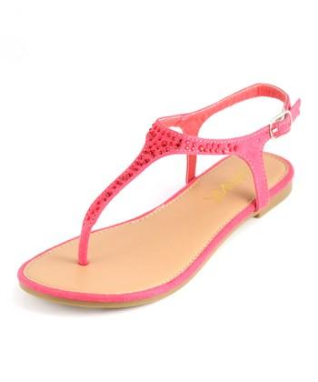 Anna Shoes Coral Rhinestone Sandal