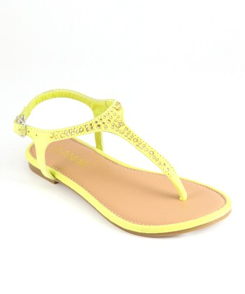 Anna Shoes Yellow Rhinestone Sandal