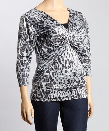Gray & Black Leopard Knot Surplice Top - Plus