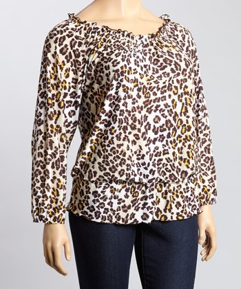 Brown & Cream Leopard Ruffle Scoop Neck Top - Plus