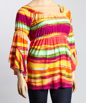 Orange & Green Wave Angle-Sleeve Top - Plus