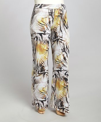 Black & Yellow Abstract Palazzo Pants - Plus