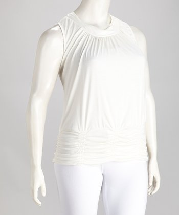 White Ruched Plus-Size Sleeveless Top