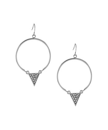 Silver Pavé Sparkle Triangle Ring Drop Earrings