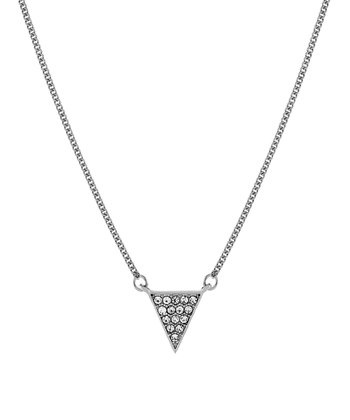 Silver Sparkle Triangle Pendant Necklace