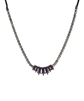 Hematite & Purple Baguette Necklace