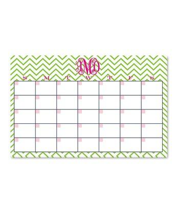 Pink & Green Monogram Desk Calendar