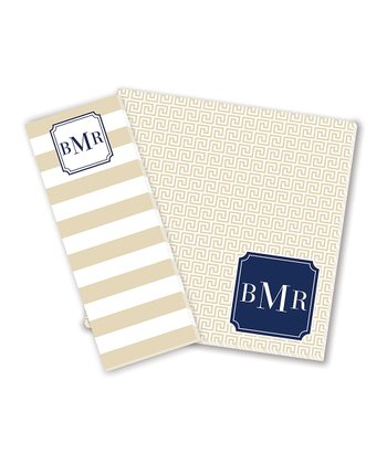 Beige & Navy Monogram Notepad Set