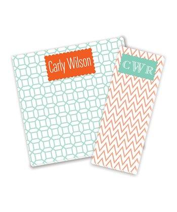 Orange & Mint Personalized Notepad Set