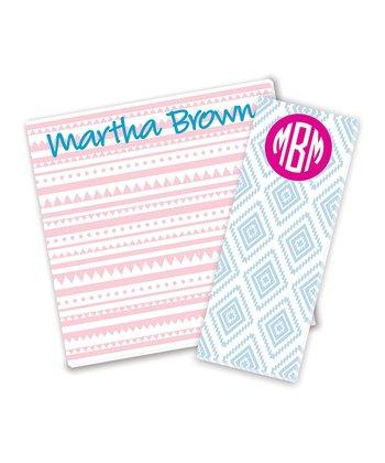 Pink & Aqua Personalized Notepad Set