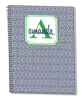 Navy & Green Personalized Spiral Notepad