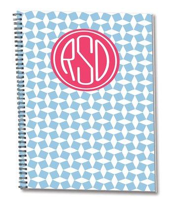 Blue & Coral Monogram Spiral Notepad