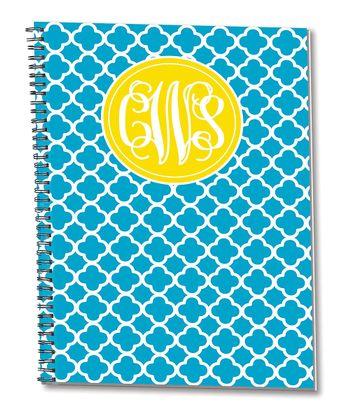 Aqua & Yellow Monogram Spiral Notepad