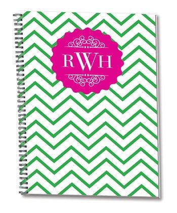 Pink & Green Zigzag Monogram Spiral Notepad