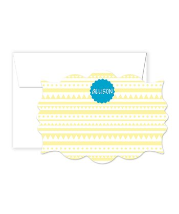Yellow & Aqua Personalized Card & Envelope Set