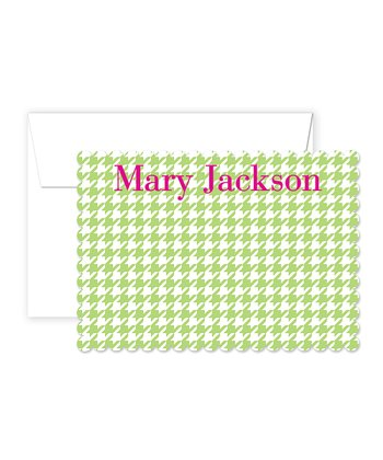 Pink & Green Houndstooth Personalized Card & Envelope Set