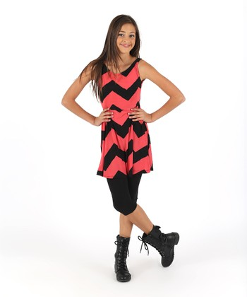 Red & Black Zigzag A-Line Dress