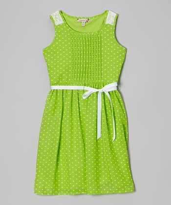 Green & White Polka Dot Pleated Dress - Girls
