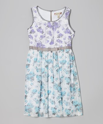 Purple & Blue Floral Bow Dress - Girls