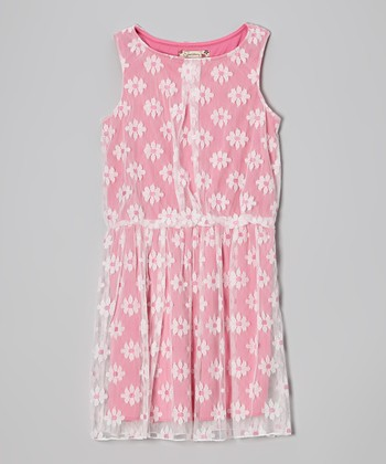 Pink & White Lace Daisy Dress