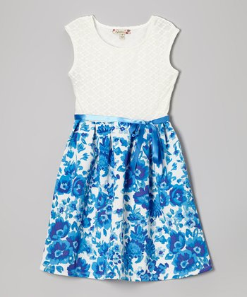 Blue & White Lace Floral Dress - Girls