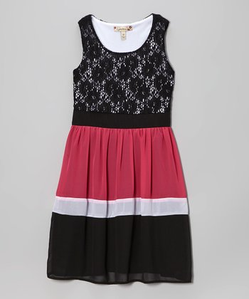 Black & Pink Color Block Lace Dress - Girls