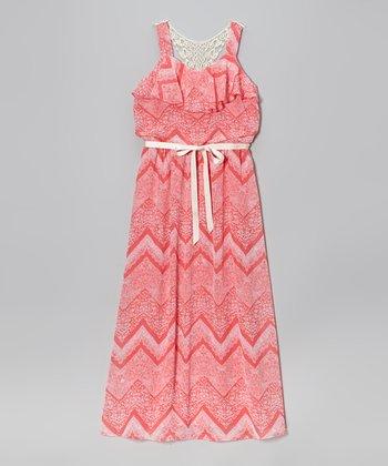 Speechless Coral Zigzag Maxi Dress