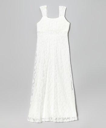 Speechless White Sheer Polka Dot Maxi Dress