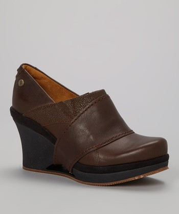 Brown Divine Leather Wedge