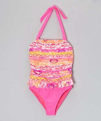 Angel Beach Pink Heartthrob One-Piece - Girls