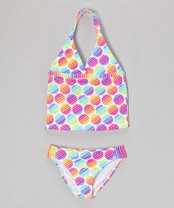 Angel Beach Neon Rainbow Polka Dot Beach Ball Tankini - Girls