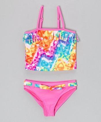 Angel Beach Pink Spray Paint Tankini - Girls