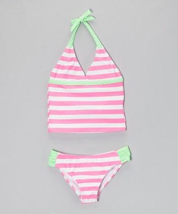 Angel Beach Light Pink Optic Stripe Tankini - Girls